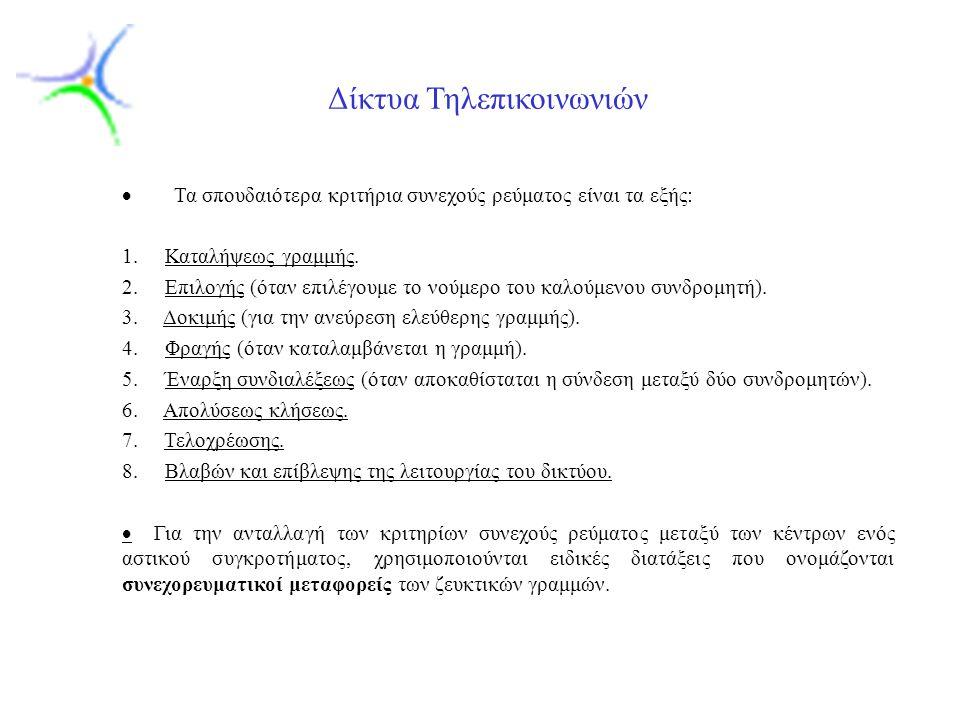 Slide 6 Δίκτυα Τηλεπικοινωνιών  Τα σπουδαιότερα κριτήρια συνεχούς ρεύματος είναι τα εξής: 1.