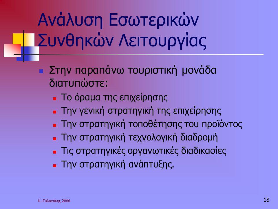 Κ. Γαλανάκης 2006 18 Ανάλυση Εσωτερικών Συνθηκών Λειτουργίας Στην παραπάνω τουριστική μονάδα διατυπώστε: Το όραμα της επιχείρησης Την γενική στρατηγικ