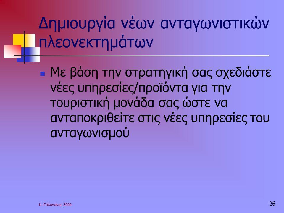 Κ. Γαλανάκης 2006 26 Δημιουργία νέων ανταγωνιστικών πλεονεκτημάτων Με βάση την στρατηγική σας σχεδιάστε νέες υπηρεσίες/προϊόντα για την τουριστική μον
