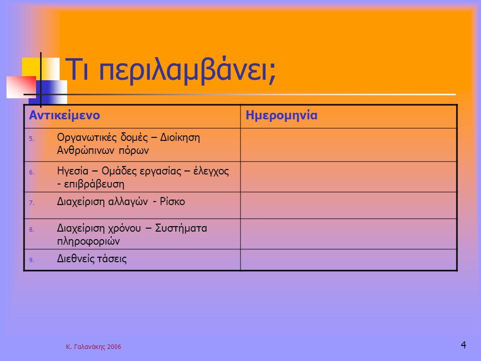 Κ. Γαλανάκης 2006 4 Τι περιλαμβάνει; ΑντικείμενοΗμερομηνία 5.