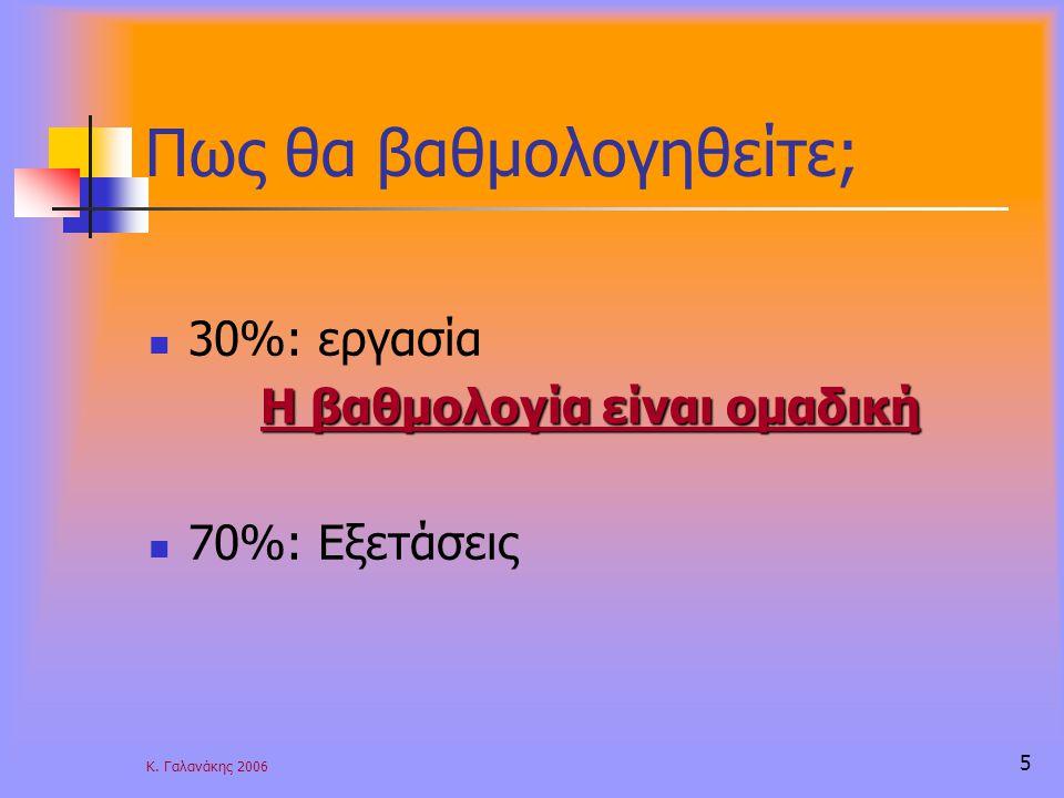 Κ. Γαλανάκης 2006 5 Πως θα βαθμολογηθείτε; 30%: εργασία Η βαθμολογία είναι ομαδική 70%: Εξετάσεις