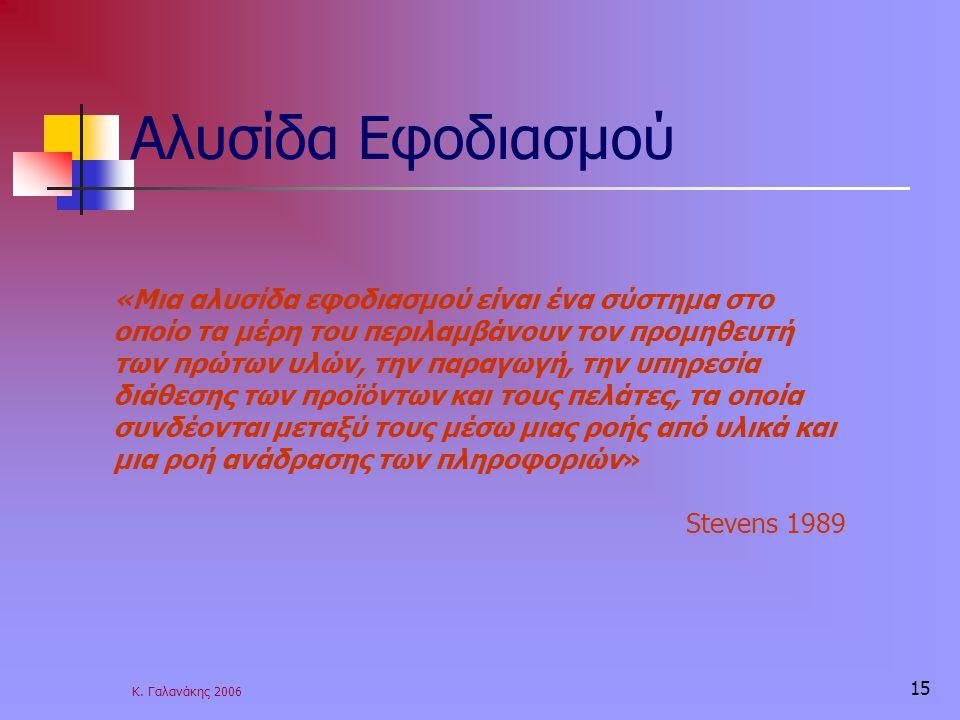 Κ. Γαλανάκης 2006 15 Αλυσίδα Εφοδιασμού «Μια αλυσίδα εφοδιασμού είναι ένα σύστημα στο οποίο τα μέρη του περιλαμβάνουν τον προμηθευτή των πρώτων υλών,