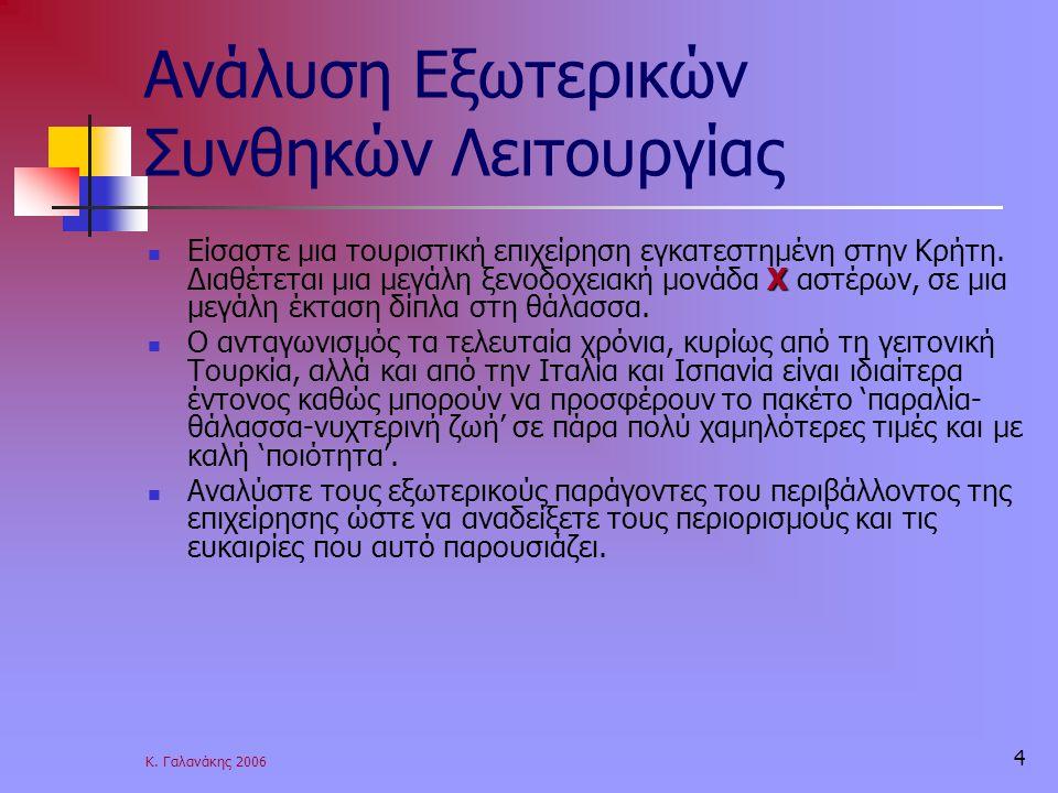 Κ. Γαλανάκης 2006 4 Ανάλυση Εξωτερικών Συνθηκών Λειτουργίας Χ Είσαστε μια τουριστική επιχείρηση εγκατεστημένη στην Κρήτη. Διαθέτεται μια μεγάλη ξενοδο