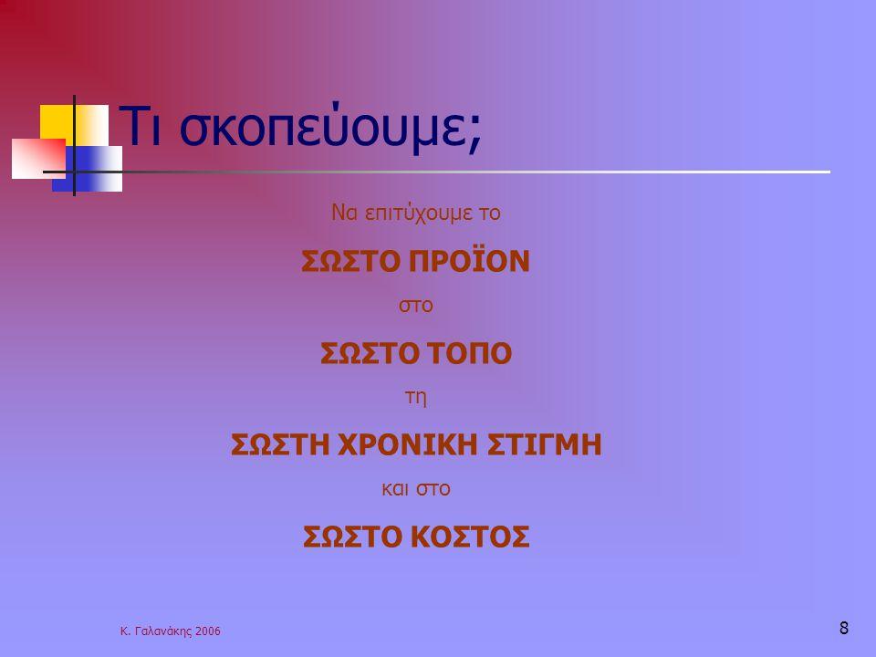 Κ. Γαλανάκης 2006 8 Τι σκοπεύουμε; Να επιτύχουμε το ΣΩΣΤΟ ΠΡΟΪΟΝ στο ΣΩΣΤΟ ΤΟΠΟ τη ΣΩΣΤΗ ΧΡΟΝΙΚΗ ΣΤΙΓΜΗ και στο ΣΩΣΤΟ ΚΟΣΤΟΣ