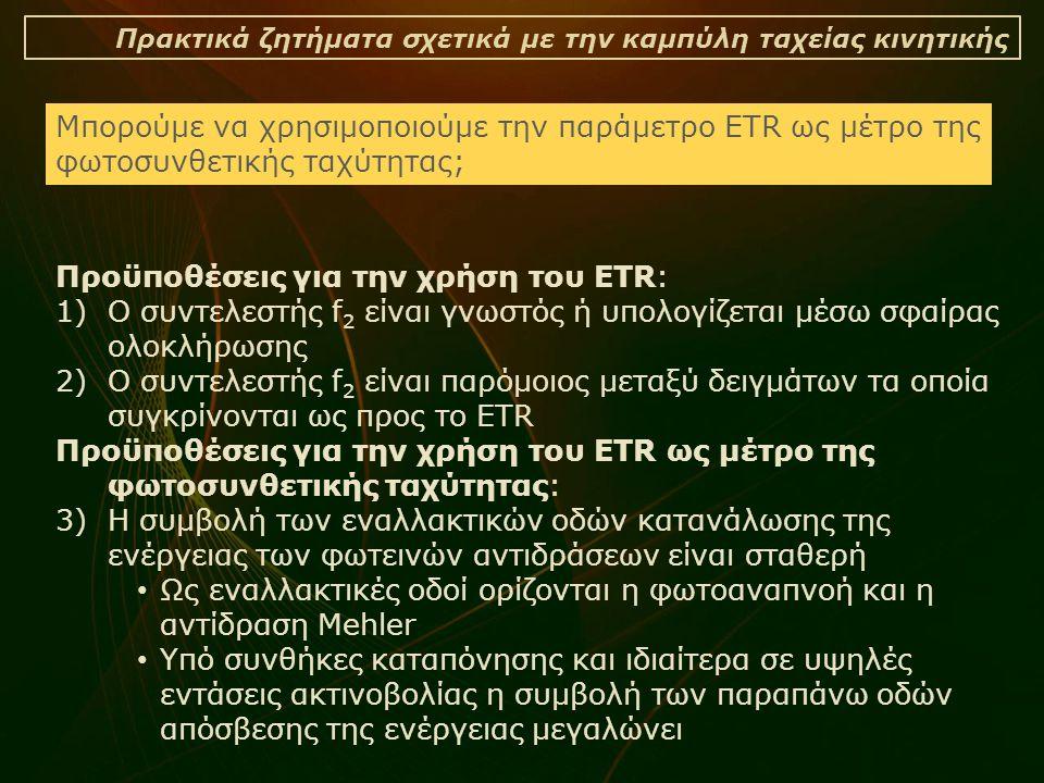 Πρακτικά ζητήματα σχετικά με την καμπύλη ταχείας κινητικής Προϋποθέσεις για την χρήση του ETR: 1)Ο συντελεστής f 2 είναι γνωστός ή υπολογίζεται μέσω σ