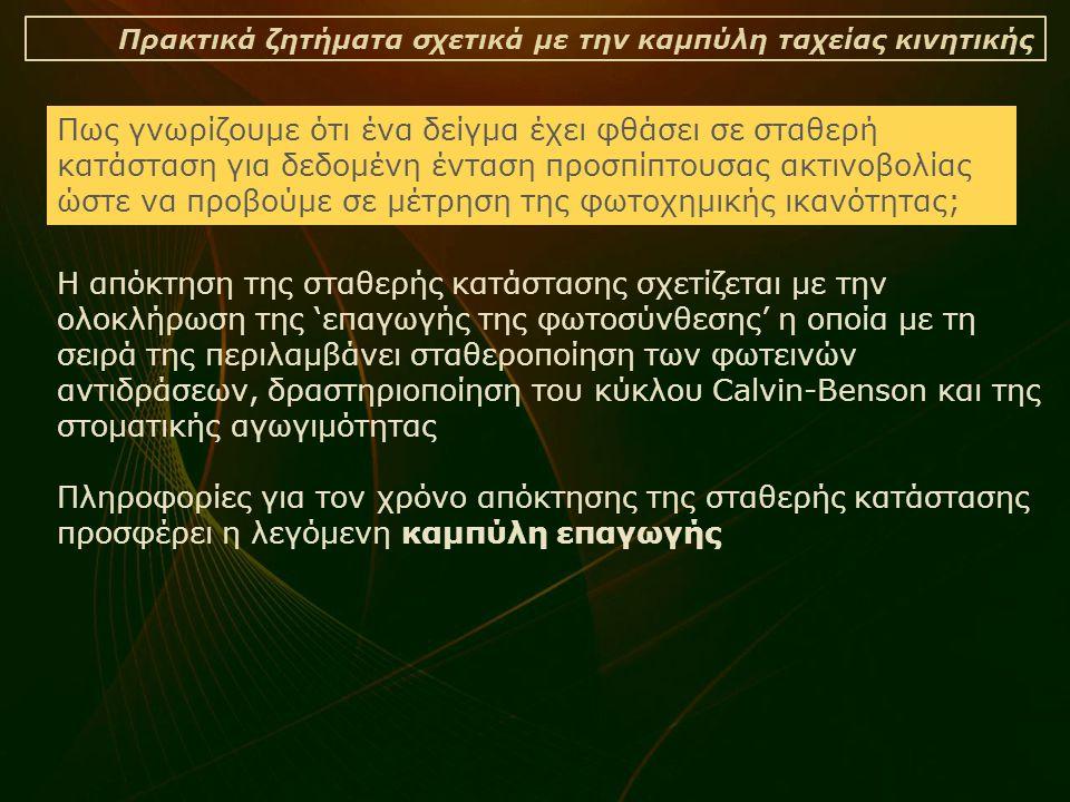 Πρακτικά ζητήματα σχετικά με την καμπύλη ταχείας κινητικής Η απόκτηση της σταθερής κατάστασης σχετίζεται με την ολοκλήρωση της 'επαγωγής της φωτοσύνθεσης' η οποία με τη σειρά της περιλαμβάνει σταθεροποίηση των φωτεινών αντιδράσεων, δραστηριοποίηση του κύκλου Calvin-Benson και της στοματικής αγωγιμότητας Πληροφορίες για τον χρόνο απόκτησης της σταθερής κατάστασης προσφέρει η λεγόμενη καμπύλη επαγωγής Πως γνωρίζουμε ότι ένα δείγμα έχει φθάσει σε σταθερή κατάσταση για δεδομένη ένταση προσπίπτουσας ακτινοβολίας ώστε να προβούμε σε μέτρηση της φωτοχημικής ικανότητας;