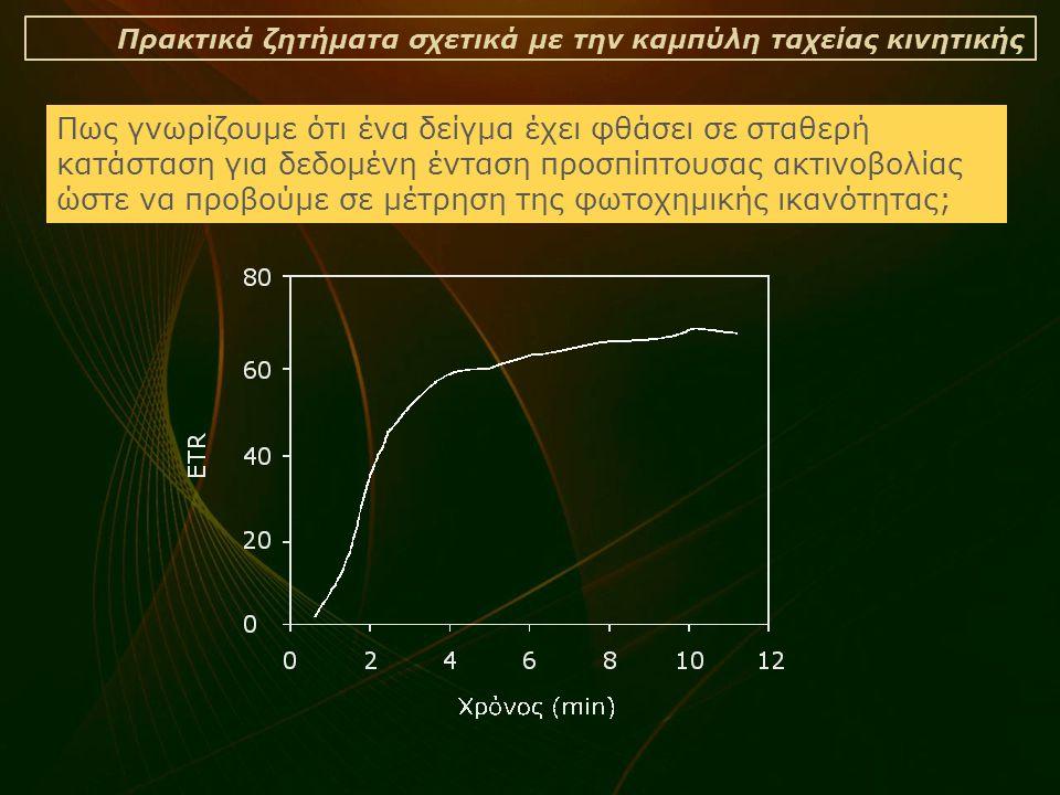 Πρακτικά ζητήματα σχετικά με την καμπύλη ταχείας κινητικής Πως γνωρίζουμε ότι ένα δείγμα έχει φθάσει σε σταθερή κατάσταση για δεδομένη ένταση προσπίπτουσας ακτινοβολίας ώστε να προβούμε σε μέτρηση της φωτοχημικής ικανότητας;