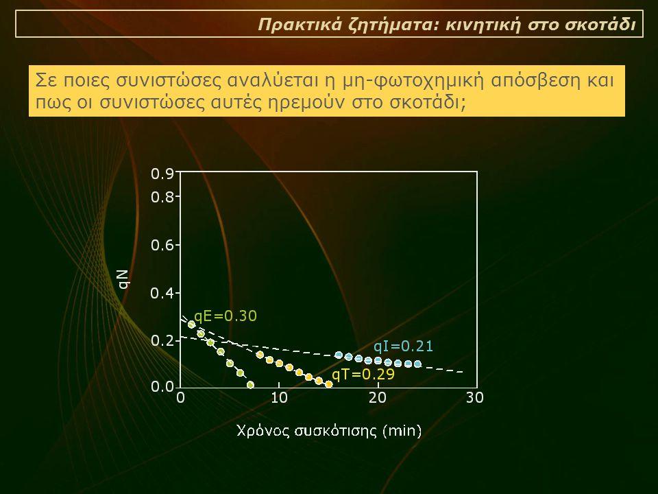 Πρακτικά ζητήματα: κινητική στο σκοτάδι Σε ποιες συνιστώσες αναλύεται η μη-φωτοχημική απόσβεση και πως οι συνιστώσες αυτές ηρεμούν στο σκοτάδι;