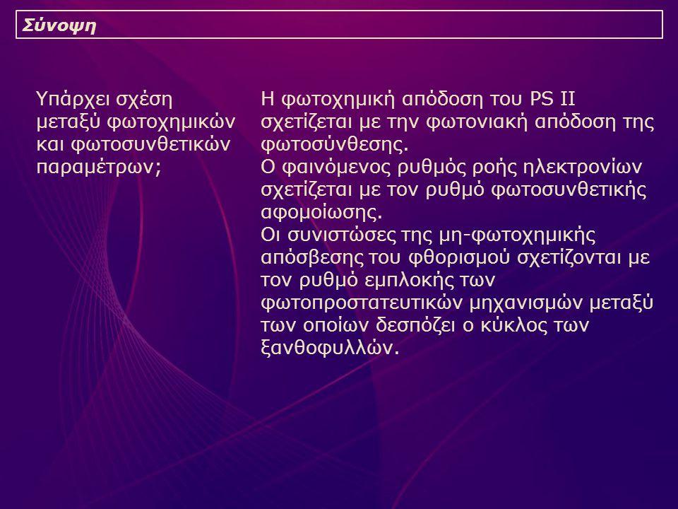 Υπάρχει σχέση μεταξύ φωτοχημικών και φωτοσυνθετικών παραμέτρων; Σύνοψη Η φωτοχημική απόδοση του PS II σχετίζεται με την φωτονιακή απόδοση της φωτοσύνθεσης.