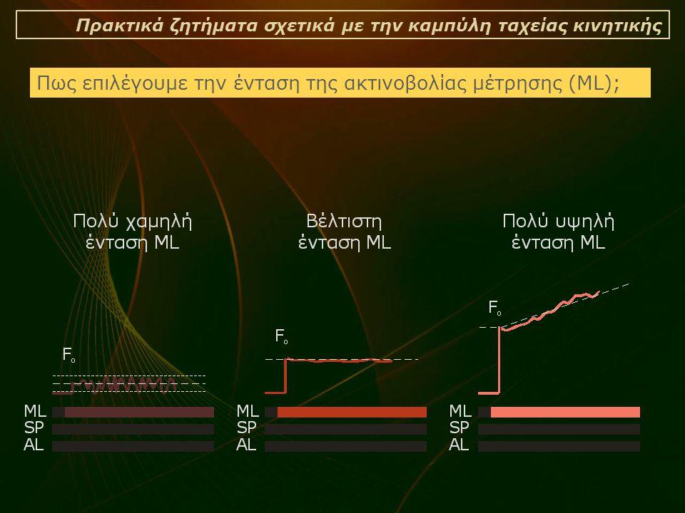 Πρακτικά ζητήματα σχετικά με την καμπύλη ταχείας κινητικής Πως επιλέγουμε την ένταση της ακτινοβολίας μέτρησης (ML);