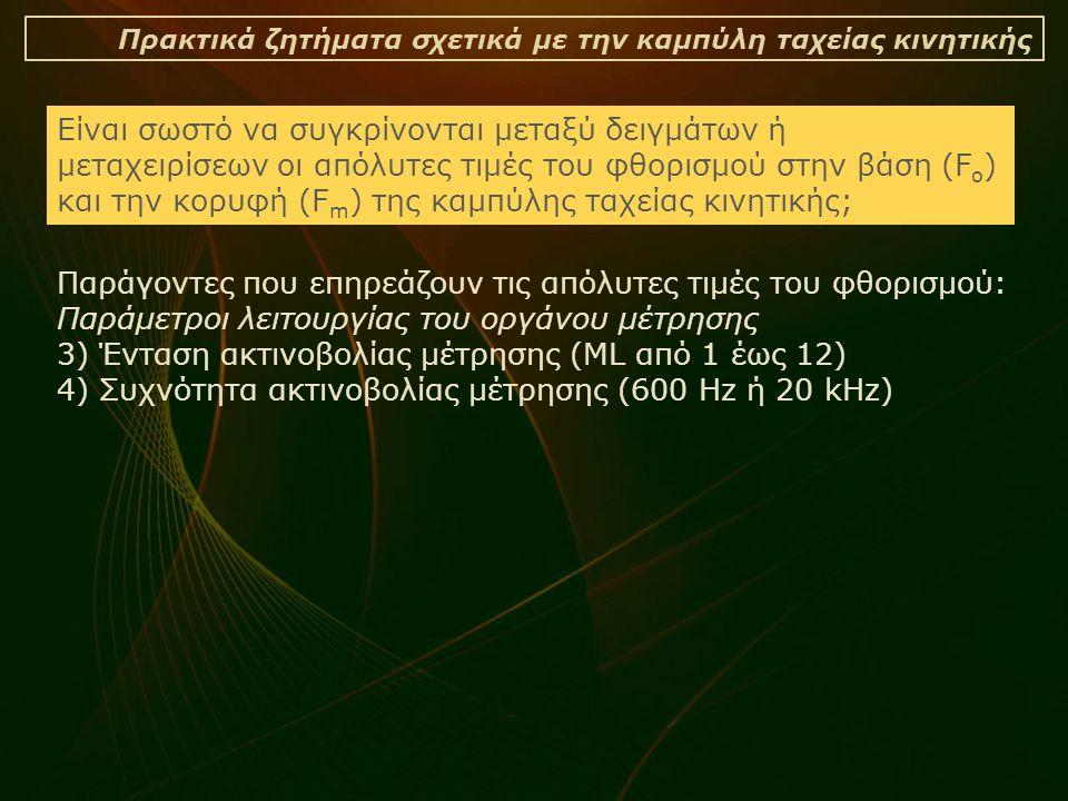 Πρακτικά ζητήματα σχετικά με την καμπύλη ταχείας κινητικής Είναι σωστό να συγκρίνονται μεταξύ δειγμάτων ή μεταχειρίσεων οι απόλυτες τιμές του φθορισμού στην βάση (F o ) και την κορυφή (F m ) της καμπύλης ταχείας κινητικής; Παράγοντες που επηρεάζουν τις απόλυτες τιμές του φθορισμού: Παράμετροι λειτουργίας του οργάνου μέτρησης 3) Ένταση ακτινοβολίας μέτρησης (ML από 1 έως 12) 4) Συχνότητα ακτινοβολίας μέτρησης (600 Hz ή 20 kHz)