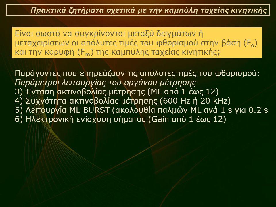 Πρακτικά ζητήματα σχετικά με την καμπύλη ταχείας κινητικής Είναι σωστό να συγκρίνονται μεταξύ δειγμάτων ή μεταχειρίσεων οι απόλυτες τιμές του φθορισμού στην βάση (F o ) και την κορυφή (F m ) της καμπύλης ταχείας κινητικής; Παράγοντες που επηρεάζουν τις απόλυτες τιμές του φθορισμού: Παράμετροι λειτουργίας του οργάνου μέτρησης 3) Ένταση ακτινοβολίας μέτρησης (ML από 1 έως 12) 4) Συχνότητα ακτινοβολίας μέτρησης (600 Hz ή 20 kHz) 5) Λειτουργία ML-BURST (ακολουθία παλμών ML ανά 1 s για 0.2 s 6) Ηλεκτρονική ενίσχυση σήματος (Gain από 1 έως 12)