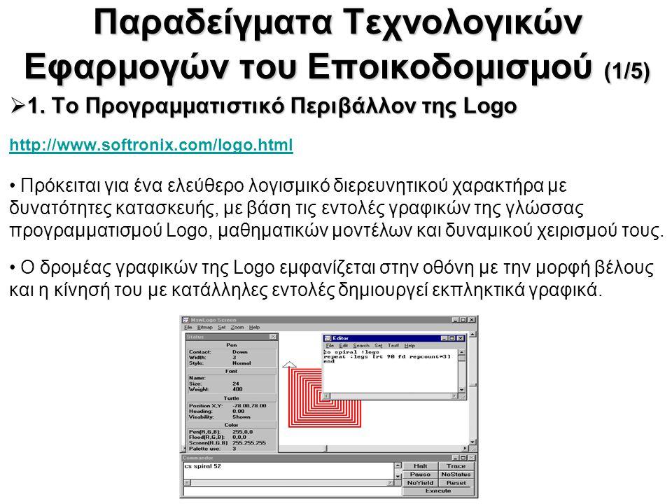Παραδείγματα Τεχνολογικών Εφαρμογών του Εποικοδομισμού (1/5)  1. Το Προγραμματιστικό Περιβάλλον της Logo  1. Το Προγραμματιστικό Περιβάλλον της Logo