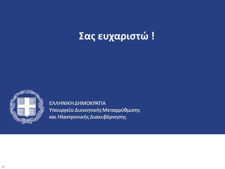 ΕΛΛΗΝΙΚΗ ΔΗΜΟΚΡΑΤΙΑ Υπουργείο Διοικητικής Μεταρρύθμισης και Ηλεκτρονικής Διακυβέρνησης Σας ευχαριστώ ! 24