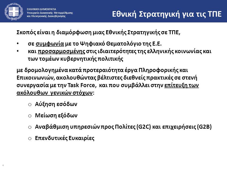 ΕΛΛΗΝΙΚΗ ΔΗΜΟΚΡΑΤΙΑ Υπουργείο Διοικητικής Μεταρρύθμισης και Ηλεκτρονικής Διακυβέρνησης Εθνική Στρατηγική για τις ΤΠΕ Σκοπός είναι η διαμόρφωση μιας Εθ