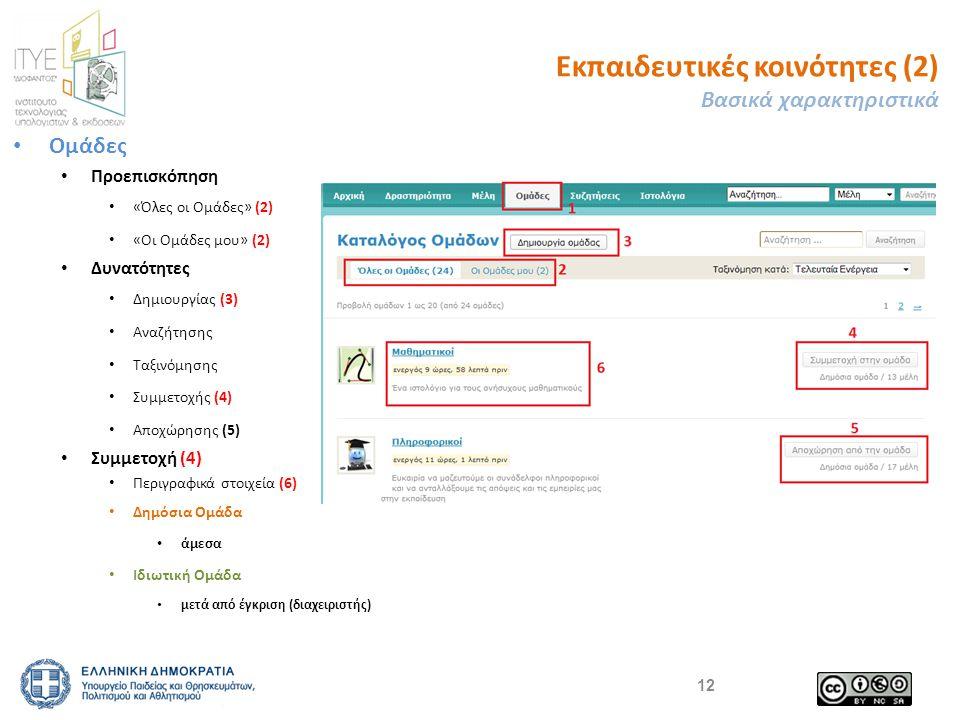 Εκπαιδευτικές κοινότητες (2) Βασικά χαρακτηριστικά Ομάδες Προεπισκόπηση «Όλες οι Ομάδες» (2) «Οι Ομάδες μου» (2) Δυνατότητες Δημιουργίας (3) Αναζήτησης Ταξινόμησης Συμμετοχής (4) Αποχώρησης (5) Συμμετοχή (4) Περιγραφικά στοιχεία (6) Δημόσια Ομάδα άμεσα Ιδιωτική Ομάδα μετά από έγκριση (διαχειριστής) 12