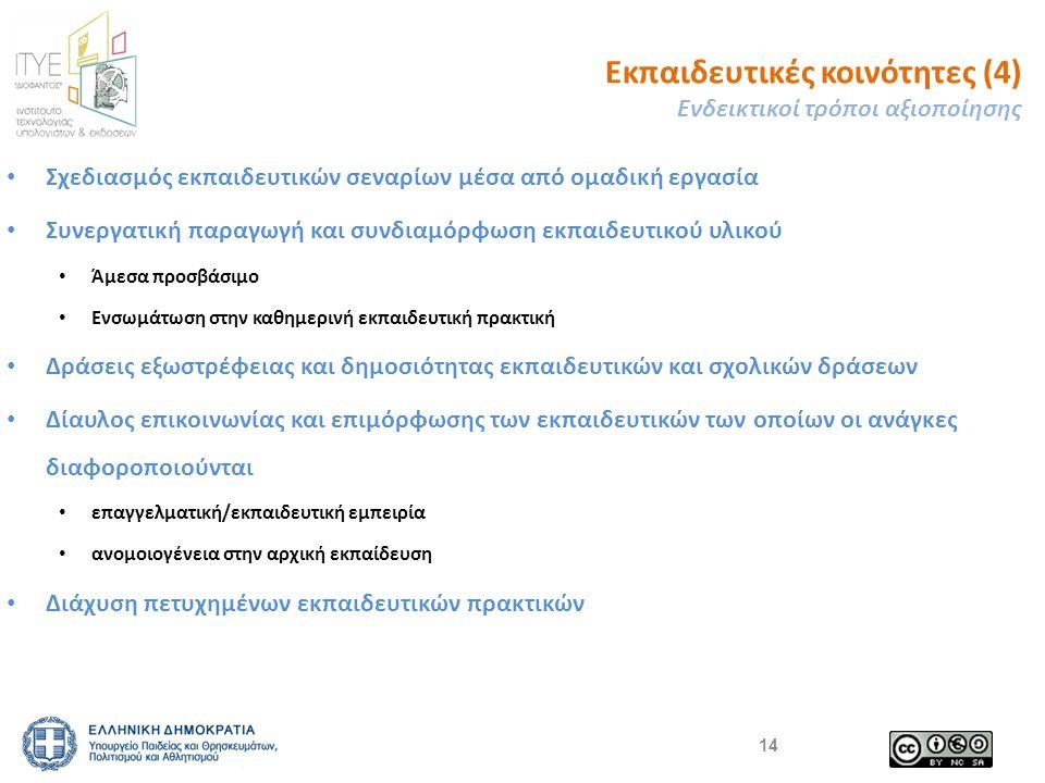 Εκπαιδευτικές κοινότητες (4) Ενδεικτικοί τρόποι αξιοποίησης Σχεδιασμός εκπαιδευτικών σεναρίων μέσα από ομαδική εργασία Συνεργατική παραγωγή και συνδιαμόρφωση εκπαιδευτικού υλικού Άμεσα προσβάσιμο Ενσωμάτωση στην καθημερινή εκπαιδευτική πρακτική Δράσεις εξωστρέφειας και δημοσιότητας εκπαιδευτικών και σχολικών δράσεων Δίαυλος επικοινωνίας και επιμόρφωσης των εκπαιδευτικών των οποίων οι ανάγκες διαφοροποιούνται επαγγελματική/εκπαιδευτική εμπειρία ανομοιογένεια στην αρχική εκπαίδευση Διάχυση πετυχημένων εκπαιδευτικών πρακτικών 14