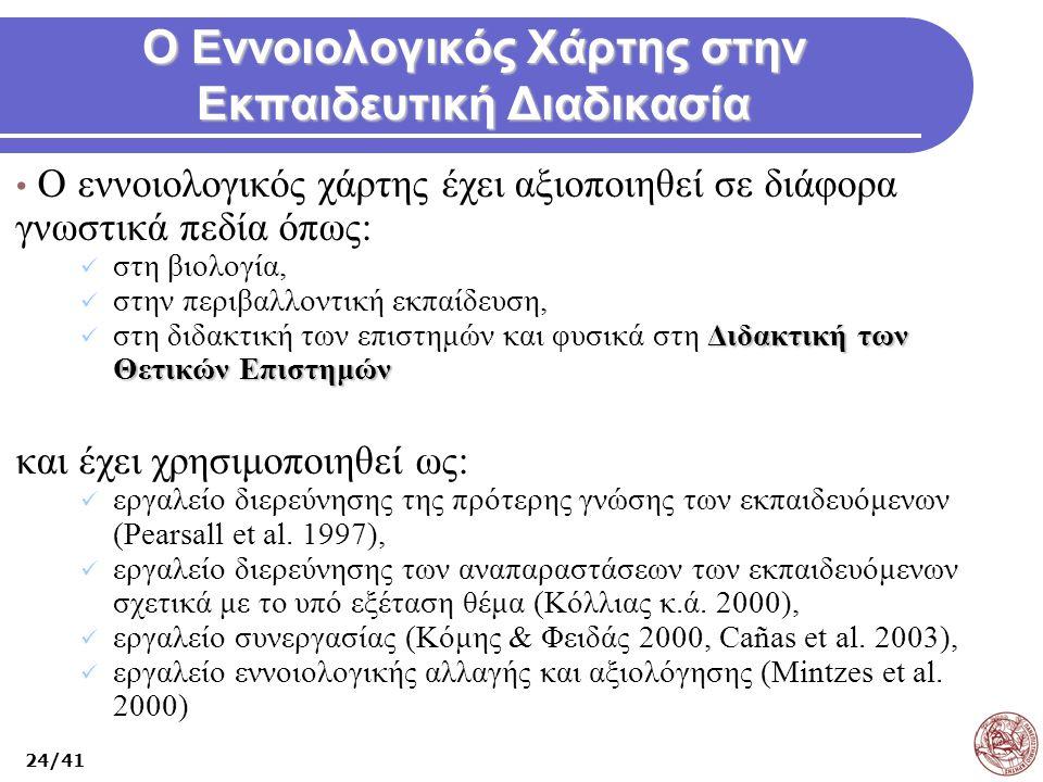 Ο Εννοιολογικός Χάρτης στην Εκπαιδευτική Διαδικασία Ο εννοιολογικός χάρτης έχει αξιοποιηθεί σε διάφορα γνωστικά πεδία όπως: στη βιολογία, στην περιβαλ