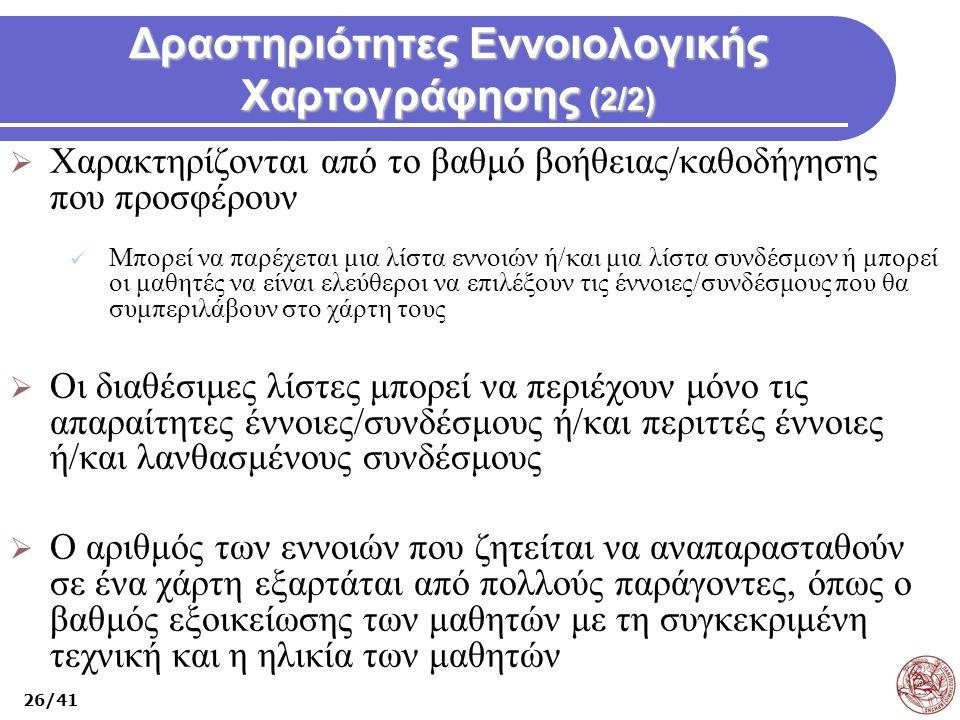 Δραστηριότητες Εννοιολογικής Χαρτογράφησης (2/2)  Χαρακτηρίζονται από το βαθμό βοήθειας/καθοδήγησης που προσφέρουν Μπορεί να παρέχεται μια λίστα εννο