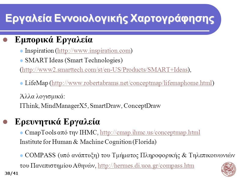 Εργαλεία Εννοιολογικής Χαρτογράφησης Εμπορικά Εργαλεία Inspiration (http://www.inspiration.com)http://www.inspiration.com SMART Ideas (Smart Technolog