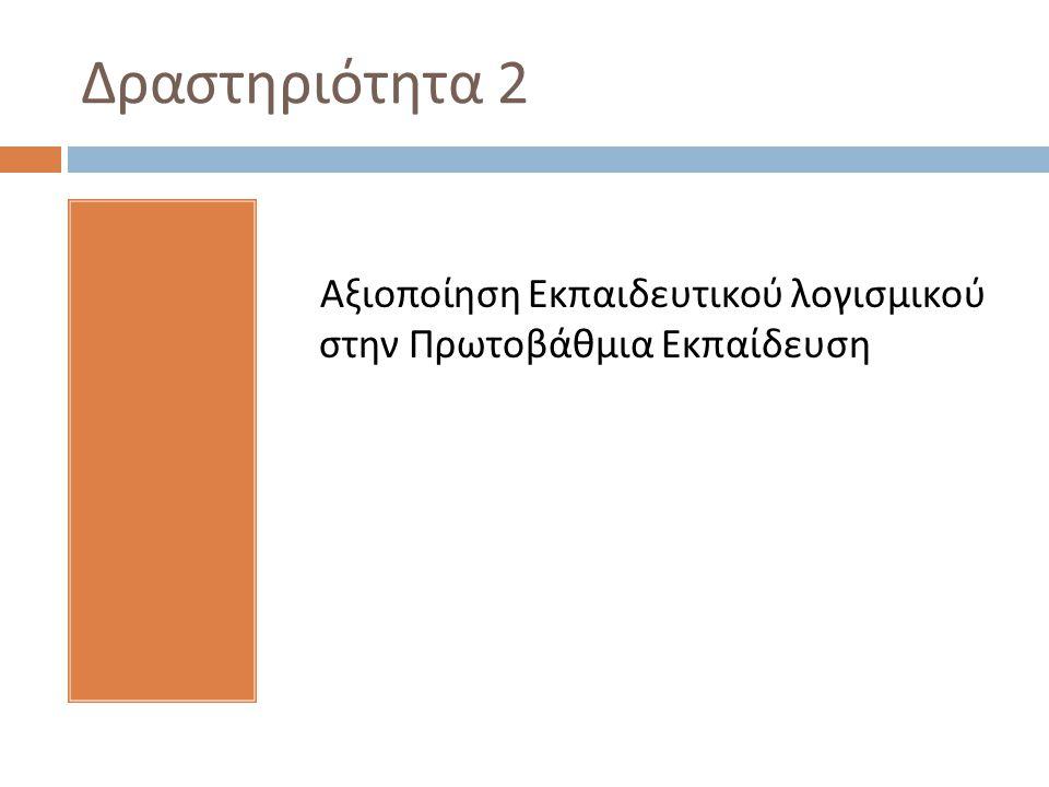 Δραστηριότητα 2 Αξιοποίηση Εκπαιδευτικού λογισμικού στην Πρωτοβάθμια Εκπαίδευση