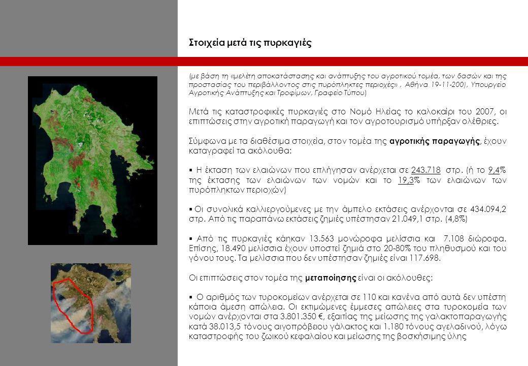 Στοιχεία μετά τις πυρκαγιές (με βάση τη «μελέτη αποκατάστασης και ανάπτυξης του αγροτικού τομέα, των δασών και της προστασίας του περιβάλλοντος στις π