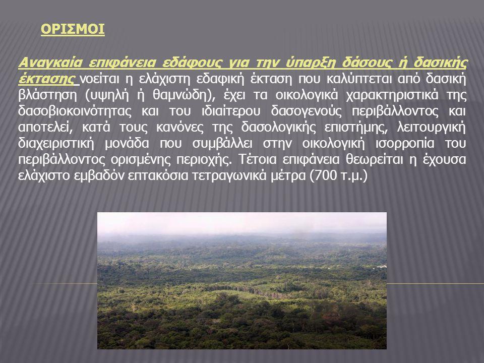 ΟΡΙΣΜΟΙ Αναγκαία επιφάνεια εδάφους για την ύπαρξη δάσους ή δασικής έκτασης νοείται η ελάχιστη εδαφική έκταση που καλύπτεται από δασική βλάστηση (υψηλή ή θαμνώδη), έχει τα οικολογικά χαρακτηριστικά της δασοβιοκοινότητας και του ιδιαίτερου δασογενούς περιβάλλοντος και αποτελεί, κατά τους κανόνες της δασολογικής επιστήμης, λειτουργική διαχειριστική μονάδα που συμβάλλει στην οικολογική ισορροπία του περιβάλλοντος ορισμένης περιοχής.