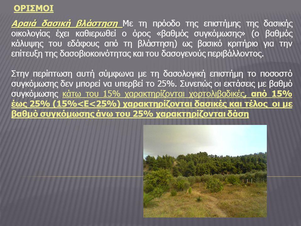 ΟΡΙΣΜΟΙ Αραιά δασική βλάστηση Αραιά δασική βλάστηση Με τη πρόοδο της επιστήμης της δασικής οικολογίας έχει καθιερωθεί ο όρος «βαθμός συγκόμωσης» (ο βαθμός κάλυψης του εδάφους από τη βλάστηση) ως βασικό κριτήριο για την επίτευξη της δασοβιοκοινότητας και του δασογενούς περιβάλλοντος.