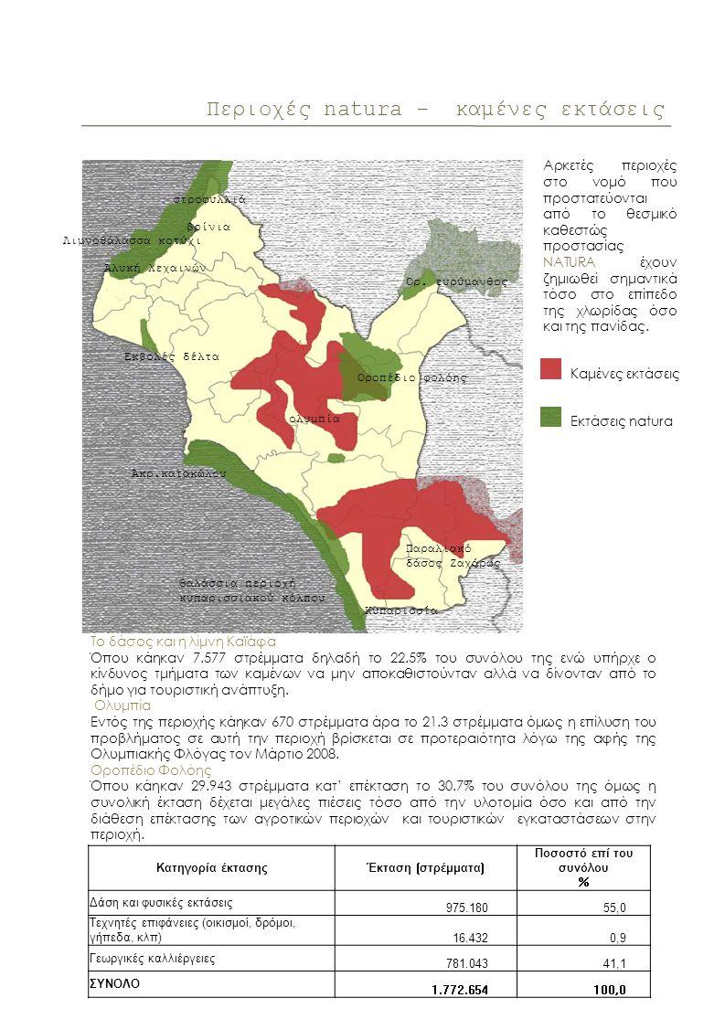Περιοχές natura - καμένες εκτάσεις Το δάσος και η λίμνη Καϊάφα Όπου κάηκαν 7.577 στρέμματα δηλαδή το 22.5% του συνόλου της ενώ υπήρχε ο κίνδυνος τμήματα των καμένων να μην αποκαθιστούνταν αλλά να δίνονταν από το δήμο για τουριστική ανάπτυξη.