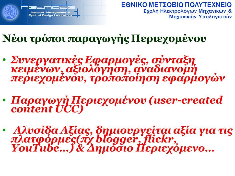 ΕΘΝΙΚΟ ΜΕΤΣΟΒΙΟ ΠΟΛΥΤΕΧΝΕΙΟ Σχολή Ηλεκτρολόγων Μηχανικών & Μηχανικών Υπολογιστών Συνεργατικές Εφαρμογές, σύνταξη κειμένων, αξιολόγηση, αναδιανομή περιεχομένου, τροποποίηση εφαρμογών Παραγωγή Περιεχομένου (user-created content UCC)  Αλυσίδα Αξίας, δημιουργείται αξία για τις πλατφόρμες(πχ blogger, flickr, YouTube…) & Δημόσιο Περιεχόμενο… Νέοι τρόποι παραγωγής Περιεχομένου
