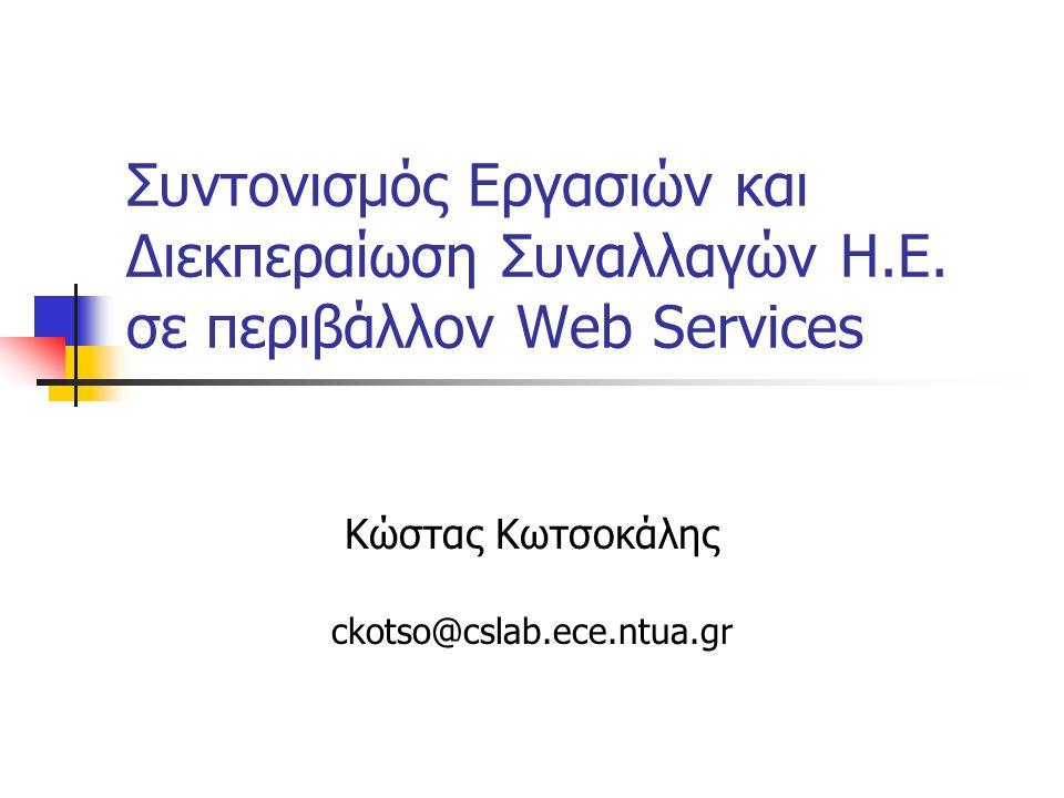 22/07/2005Δίκτυα Προστιθέμενης Αξίας EDI & Εφαρμογές Η.Ε.2 Περίγραμμα παρουσίασης Εισαγωγή WS-C/ΑΤ+ΒΑ (BEA, IBM, MS) WS-Coordination WS-AtomicTransaction WS-BusinessActivity Business Transaction Protocol (BTP) (OASIS) Συμπεράσματα