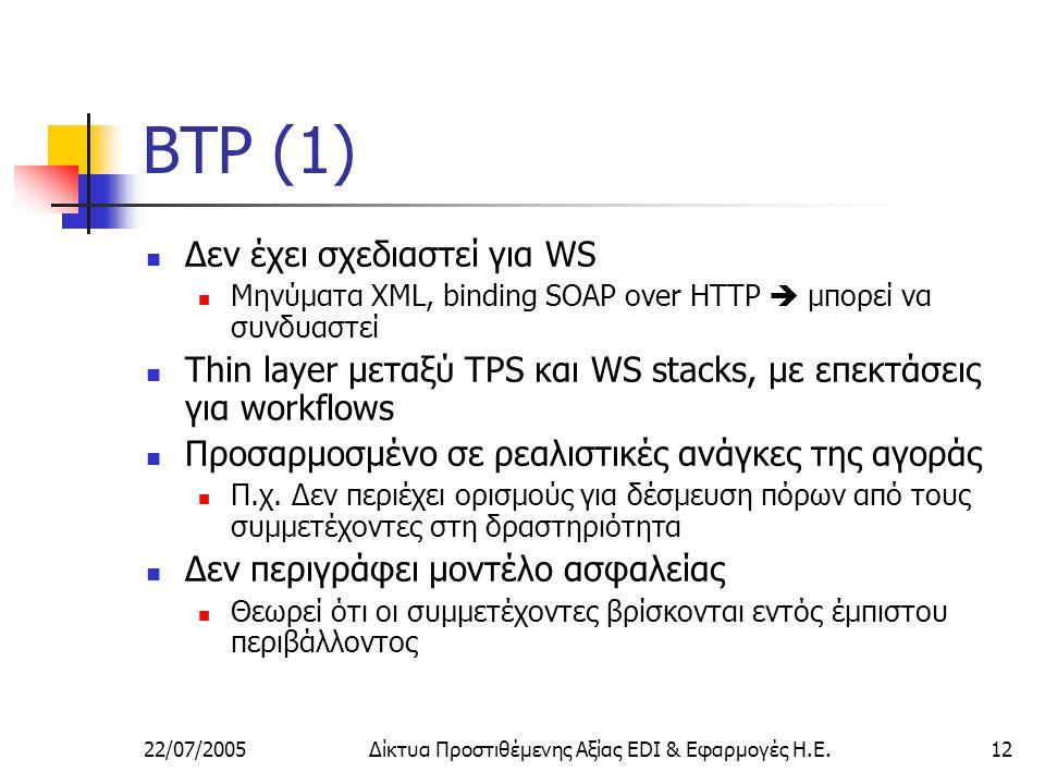 22/07/2005Δίκτυα Προστιθέμενης Αξίας EDI & Εφαρμογές Η.Ε.12 BTP (1) Δεν έχει σχεδιαστεί για WS Μηνύματα XML, binding SOAP over HTTP  μπορεί να συνδυαστεί Thin layer μεταξύ TPS και WS stacks, με επεκτάσεις για workflows Προσαρμοσμένο σε ρεαλιστικές ανάγκες της αγοράς Π.χ.
