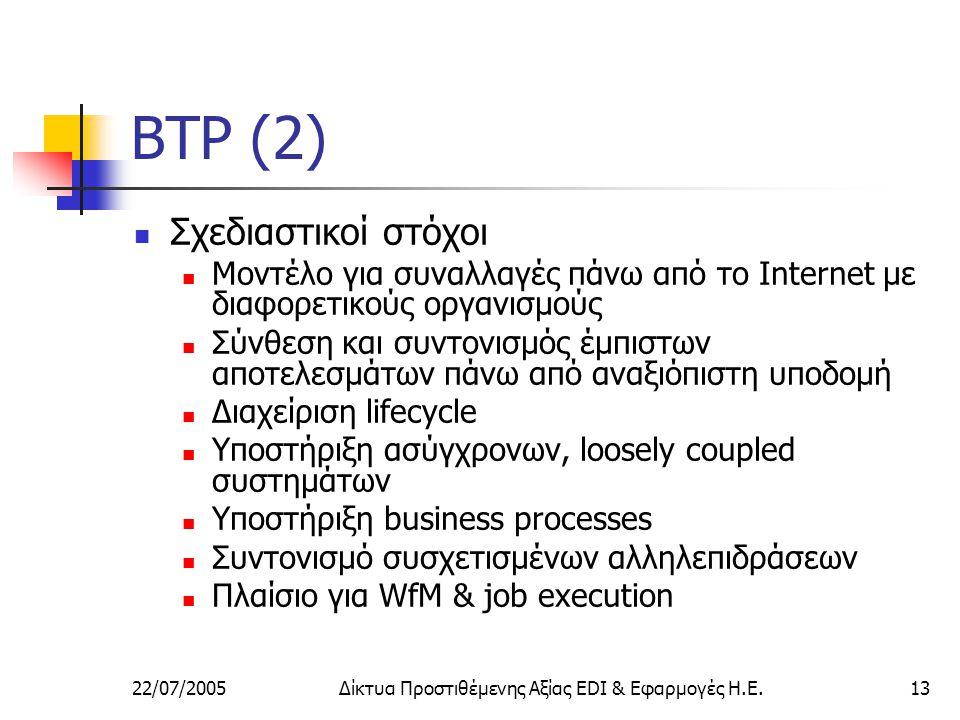 22/07/2005Δίκτυα Προστιθέμενης Αξίας EDI & Εφαρμογές Η.Ε.13 BTP (2) Σχεδιαστικοί στόχοι Μοντέλο για συναλλαγές πάνω από το Internet με διαφορετικούς οργανισμούς Σύνθεση και συντονισμός έμπιστων αποτελεσμάτων πάνω από αναξιόπιστη υποδομή Διαχείριση lifecycle Υποστήριξη ασύγχρονων, loosely coupled συστημάτων Υποστήριξη business processes Συντονισμό συσχετισμένων αλληλεπιδράσεων Πλαίσιο για WfM & job execution