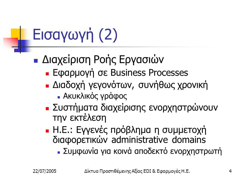 22/07/2005Δίκτυα Προστιθέμενης Αξίας EDI & Εφαρμογές Η.Ε.4 Εισαγωγή (2) Διαχείριση Ροής Εργασιών Εφαρμογή σε Business Processes Διαδοχή γεγονότων, συνήθως χρονική Ακυκλικός γράφος Συστήματα διαχείρισης ενορχηστρώνουν την εκτέλεση Η.Ε.: Εγγενές πρόβλημα η συμμετοχή διαφορετικών administrative domains Συμφωνία για κοινά αποδεκτό ενορχηστρωτή