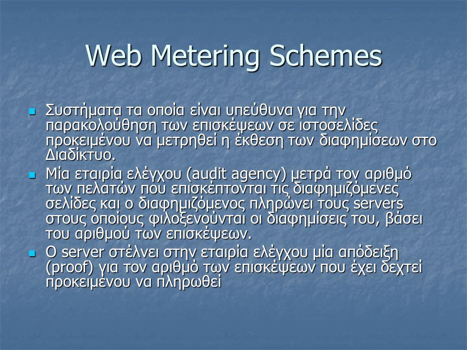 Web Metering Schemes Συστήματα τα οποία είναι υπεύθυνα για την παρακολούθηση των επισκέψεων σε ιστοσελίδες προκειμένου να μετρηθεί η έκθεση των διαφημ