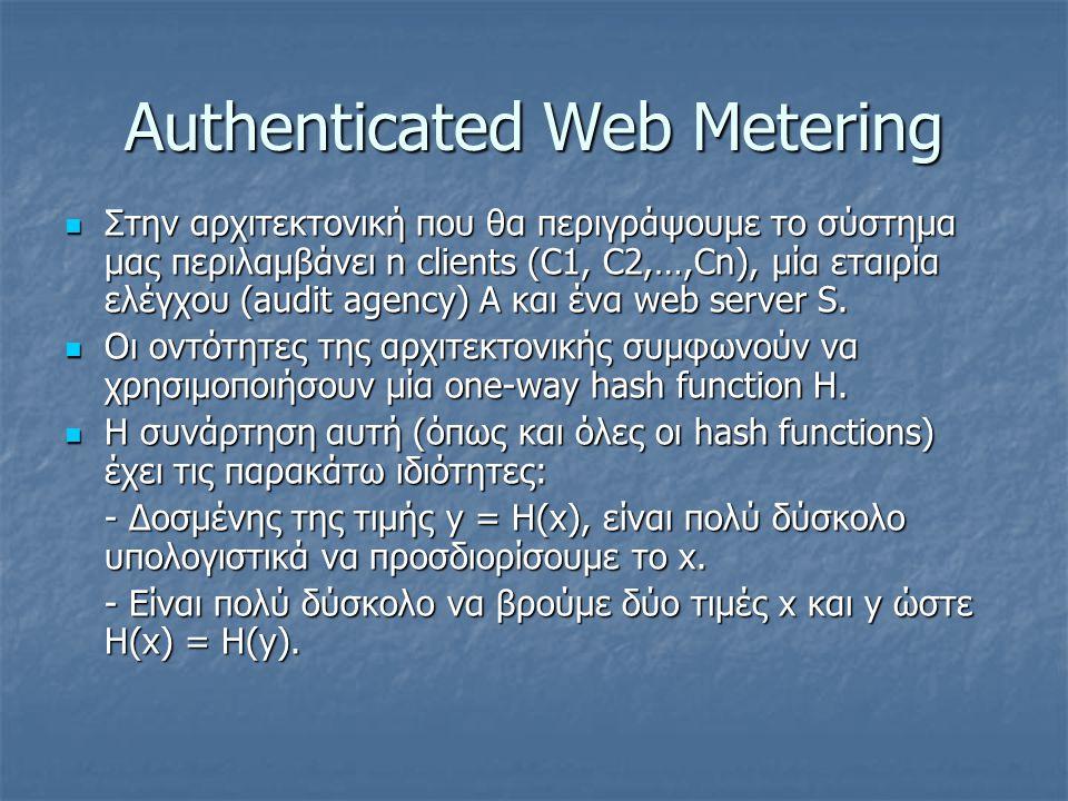 Authenticated Web Metering Στην αρχιτεκτονική που θα περιγράψουμε το σύστημα μας περιλαμβάνει n clients (C1, C2,…,Cn), μία εταιρία ελέγχου (audit agen