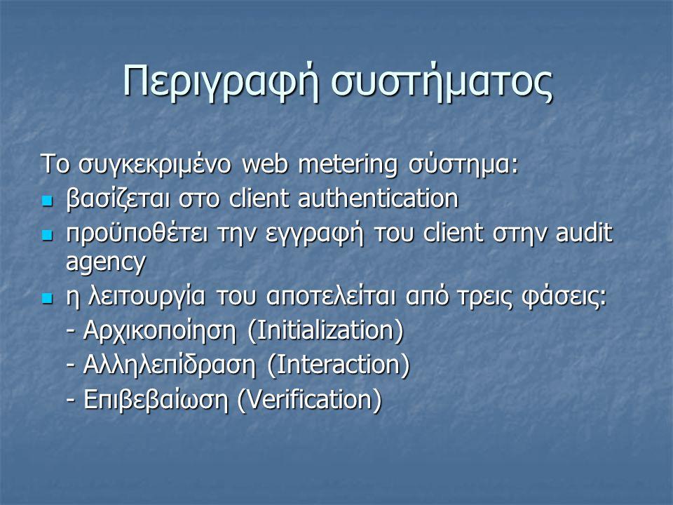 Περιγραφή συστήματος Το συγκεκριμένο web metering σύστημα: βασίζεται στο client authentication βασίζεται στο client authentication προϋποθέτει την εγγ