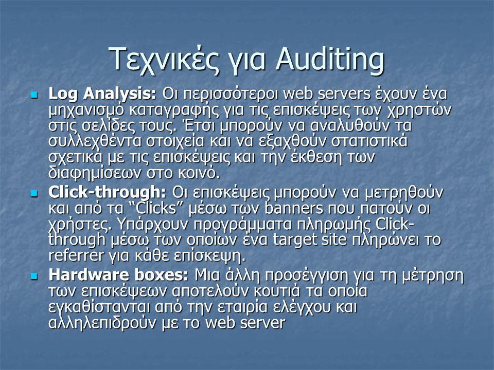 Τεχνικές για Auditing Log Analysis: Οι περισσότεροι web servers έχουν ένα μηχανισμό καταγραφής για τις επισκέψεις των χρηστών στις σελίδες τους. Έτσι