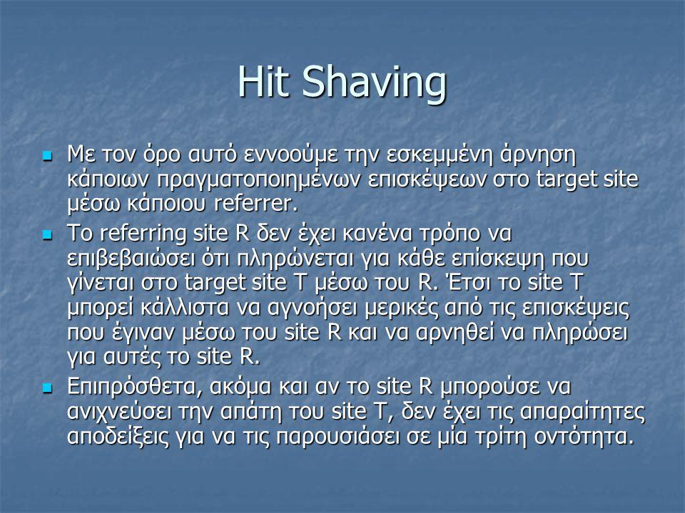 Hit Shaving Με τον όρο αυτό εννοούμε την εσκεμμένη άρνηση κάποιων πραγματοποιημένων επισκέψεων στο target site μέσω κάποιου referrer. Με τον όρο αυτό