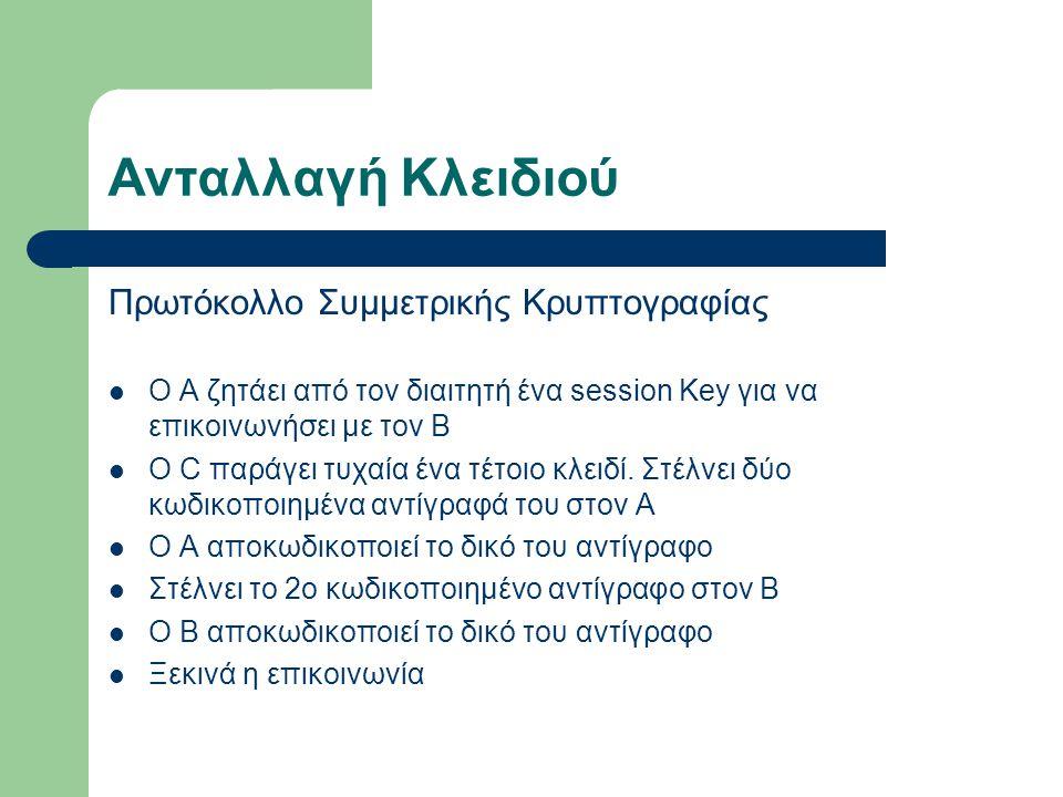 Ανταλλαγή Κλειδιού Πρωτόκολλο Συμμετρικής Κρυπτογραφίας Ο Α ζητάει από τον διαιτητή ένα session Key για να επικοινωνήσει με τον B Ο C παράγει τυχαία έ