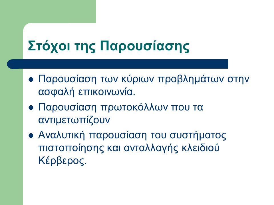 Οργάνωση Βασικές Έννοιες Το πρόβλημα της Ανταλλαγής Κλειδιού Το πρόβλημα της Πιστοποίησης Πρωτόκολλα ταυτόχρονης Ανταλλαγής Κλειδιού και Πιστοποίησης Κέρβερος Τέλος