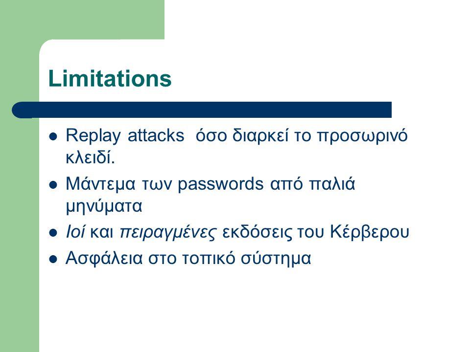 Limitations Replay attacks όσο διαρκεί το προσωρινό κλειδί. Μάντεμα των passwords από παλιά μηνύματα Ιοί και πειραγμένες εκδόσεις του Κέρβερου Ασφάλει