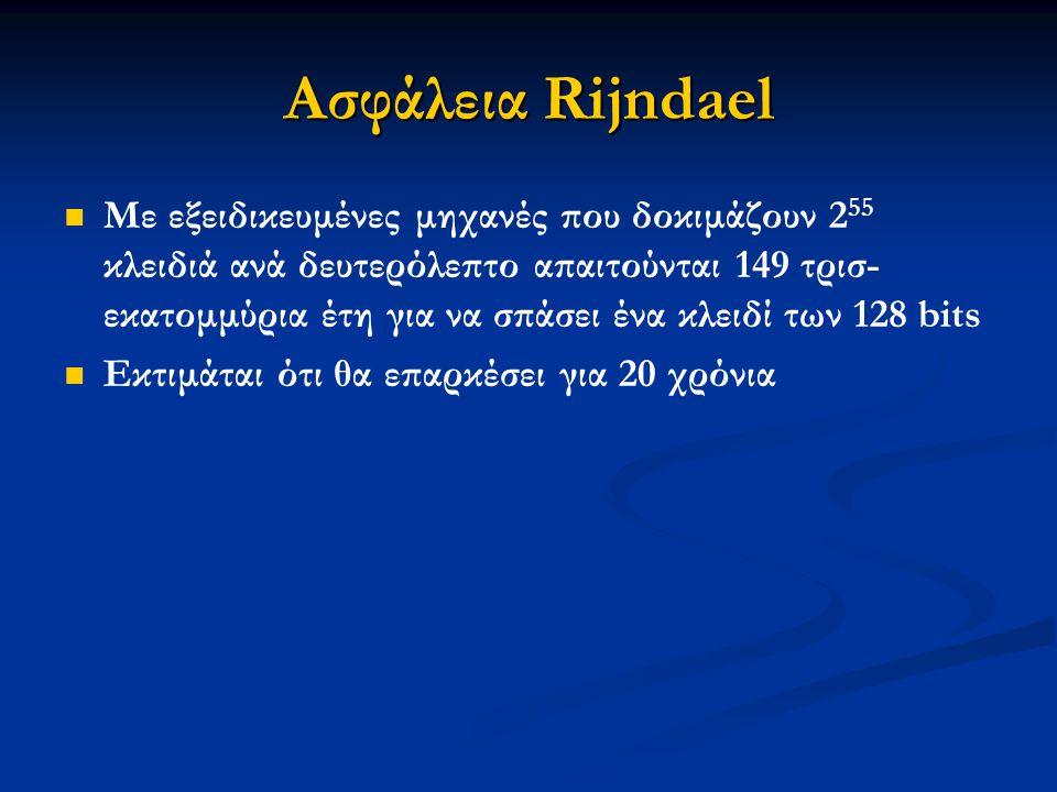 Ασφάλεια Rijndael Με εξειδικευμένες μηχανές που δοκιμάζουν 2 55 κλειδιά ανά δευτερόλεπτο απαιτούνται 149 τρισ- εκατομμύρια έτη για να σπάσει ένα κλειδ