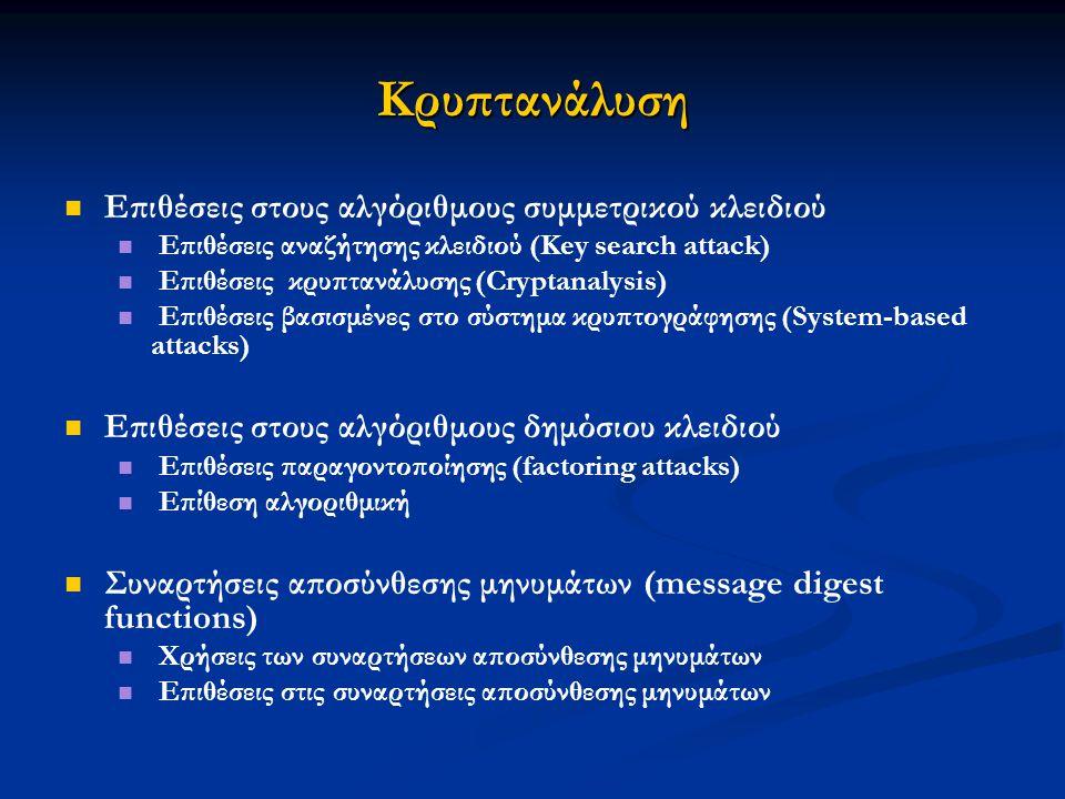 Κρυπτανάλυση Επιθέσεις στους αλγόριθμους συμμετρικού κλειδιού Επιθέσεις αναζήτησης κλειδιού (Key search attack) Επιθέσεις κρυπτανάλυσης (Cryptanalysis