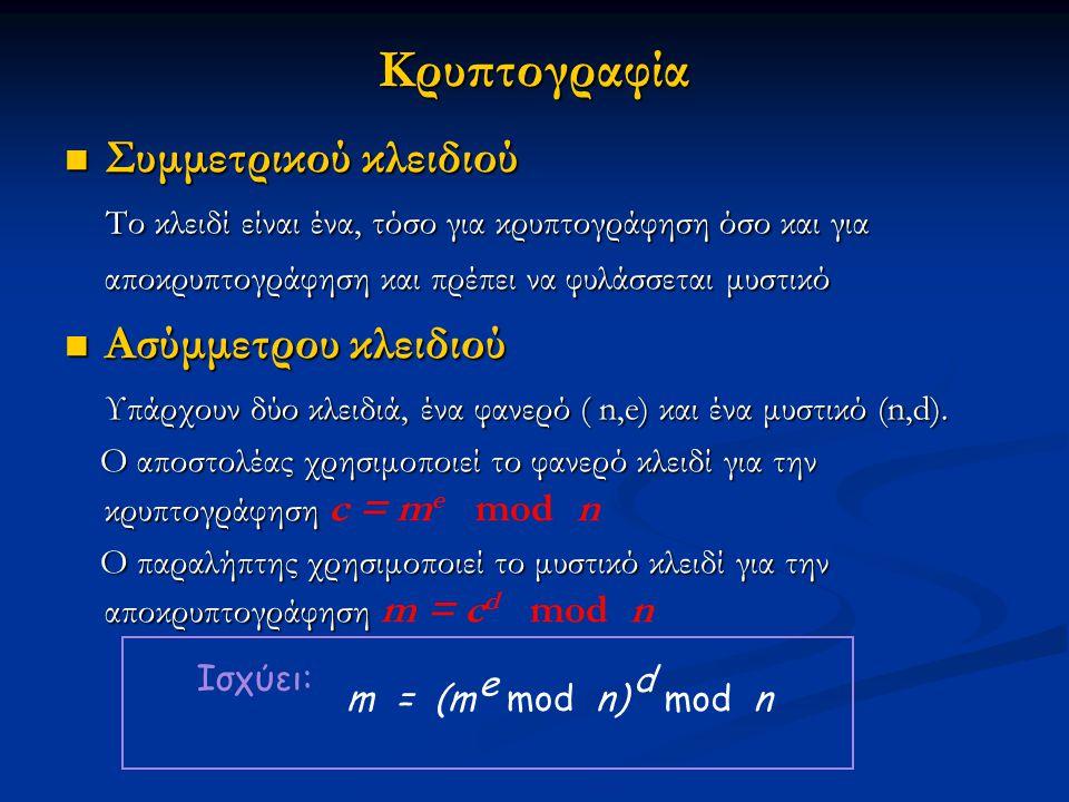 Κρυπτογραφία Συμμετρικού κλειδιού Συμμετρικού κλειδιού Το κλειδί είναι ένα, τόσο για κρυπτογράφηση όσο και για αποκρυπτογράφηση και πρέπει να φυλάσσετ