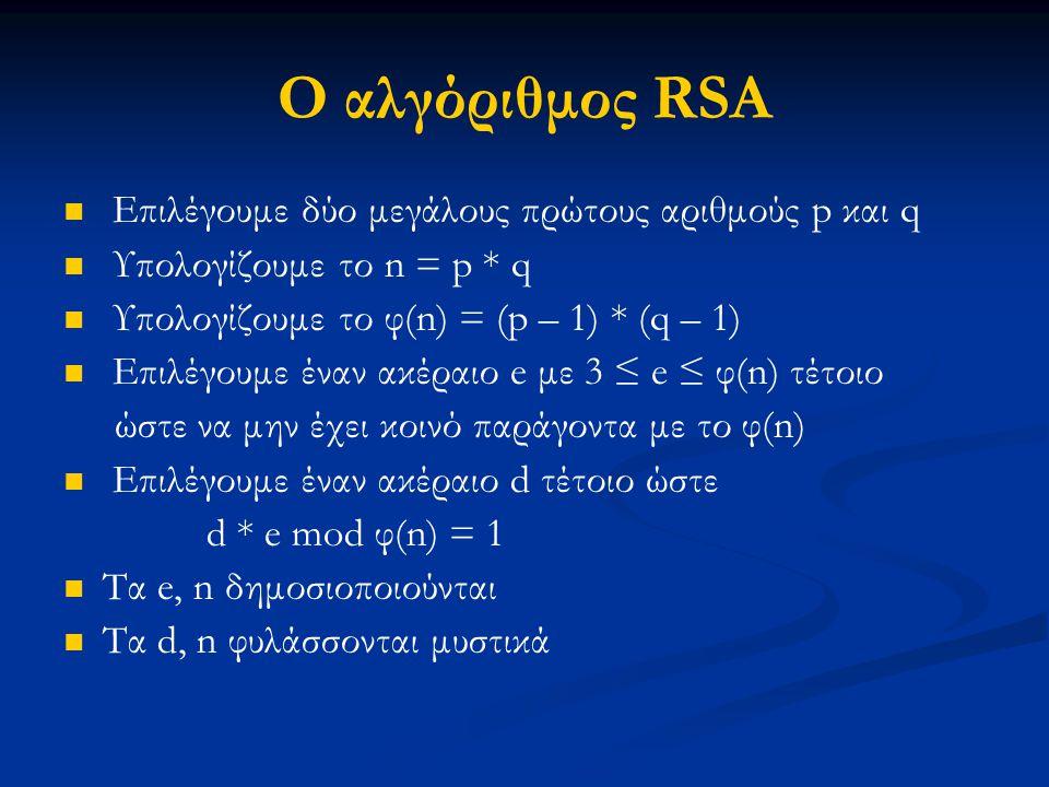 Ο αλγόριθμος RSA Επιλέγουμε δύο μεγάλους πρώτους αριθμούς p και q Υπολογίζουμε το n = p * q Υπολογίζουμε το φ(n) = (p – 1) * (q – 1) Επιλέγουμε έναν α