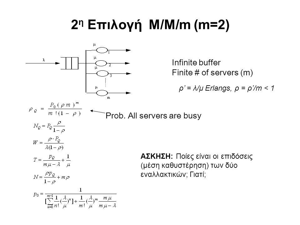 2 η Επιλογή M/M/m (m=2) Infinite buffer Finite # of servers (m) Prob. All servers are busy ρ' = λ/μ Erlangs, ρ = ρ'/m < 1 ΑΣΚΗΣΗ: Ποίες είναι οι επιδό