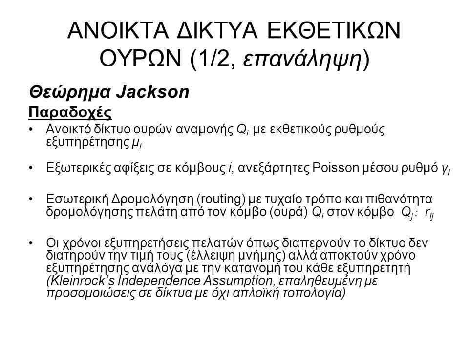 ΑΝΟΙΚΤΑ ΔΙΚΤΥΑ ΕΚΘΕΤΙΚΩΝ ΟΥΡΩΝ (2/2, επανάληψη) Θεώρημα Jackson Αποτέλεσμα Κατάσταση του δικτύου, διάνυσμα αριθμού πελατών στις ουρές Q i, n =(n 1, n 2, …) Εργοδική Πιθανότητα (αν υπάρχει): –P(n) = P(n 1 ) x P(n 2 ) x … μορφή γινομένου (product form) ανεξαρτήτων ουρών Μ/Μ/1 –P(n i ) = (1 – ρ i ) ρ i ni ρ i = λ i /μ i όπου λ i ο συνολικός ρυθμός Poisson των πελατών που διαπερνούν την ουρά Q i με ρυθμό εκθετικής εξυπηρέτησης μ i Ουρά (γραμμή) συμφόρησης: με το μέγιστο ρ i Μέσος αριθμός πελατών στο δίκτυο: E(n) = E(n 1 ) + E(n 2 ) + … Μέση καθυστέρηση τυχαίου πακέτου από άκρο σε άκρο: Ε(Τ) = Ε(n)/γ όπου γ = γ 1 + γ 2 +...