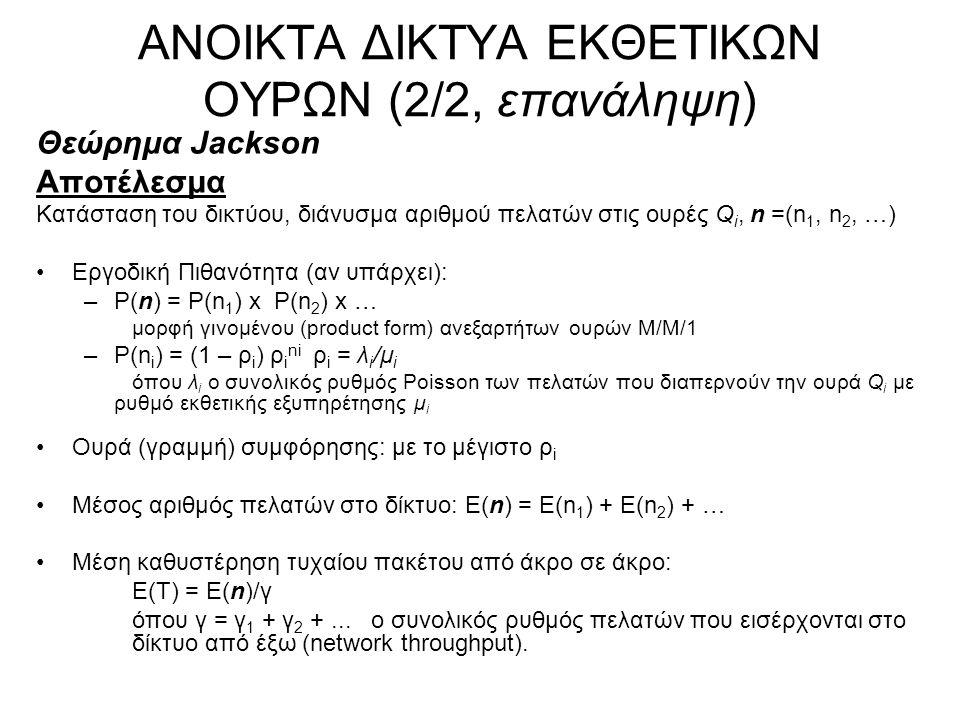 ΑΝΟΙΚΤΑ ΔΙΚΤΥΑ ΕΚΘΕΤΙΚΩΝ ΟΥΡΩΝ (2/2, επανάληψη) Θεώρημα Jackson Αποτέλεσμα Κατάσταση του δικτύου, διάνυσμα αριθμού πελατών στις ουρές Q i, n =(n 1, n