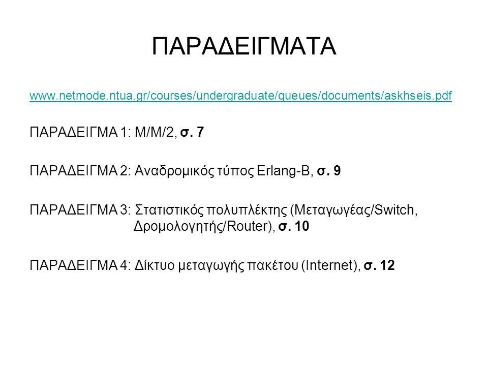 ΠΑΡΑΔΕΙΓΜΑΤΑ www.netmode.ntua.gr/courses/undergraduate/queues/documents/askhseis.pdf ΠΑΡΑΔΕΙΓΜΑ 1: Μ/Μ/2, σ. 7 ΠΑΡΑΔΕΙΓΜΑ 2: Αναδρομικός τύπος Erlang-